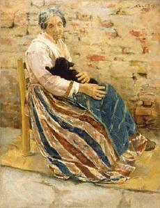 A Woman and a Cat. Max Lieberman. 1878